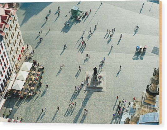 Aerial View Of  Neumarkt Square In Wood Print