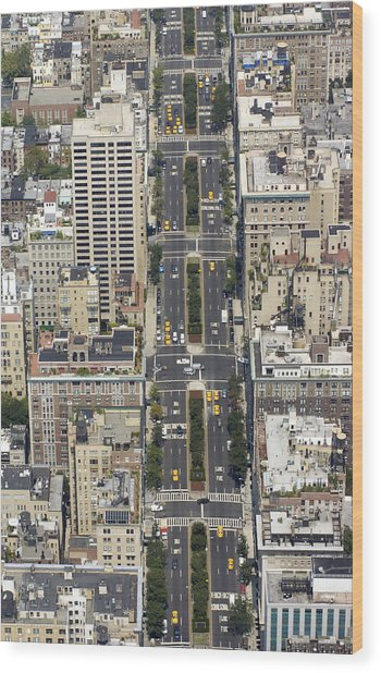 Aerial View Of Park Ave. In Manhattan Wood Print