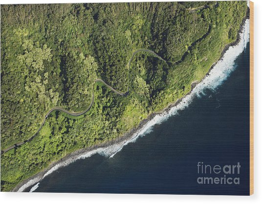 Aerial View Of Scenic Road Along Coast Wood Print