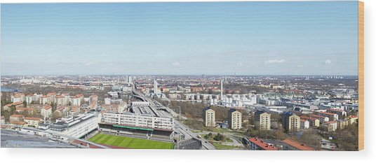 Aerial View Of Stadium Wood Print by Johner Images