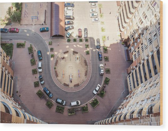 Aerial View Of The Lot Of Cars Near Wood Print