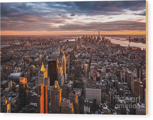Aerial View Of The Manhattan Skyline At Wood Print