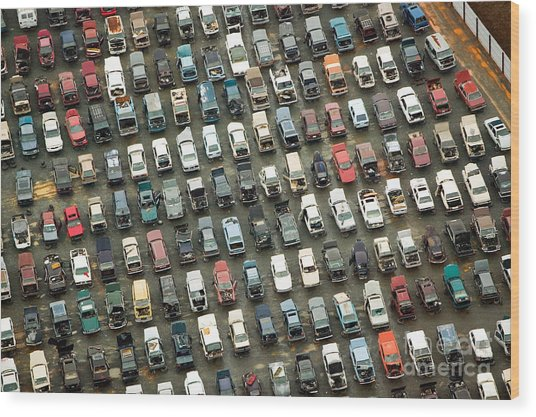 Aerial View Of Wrecked Cars In Wood Print