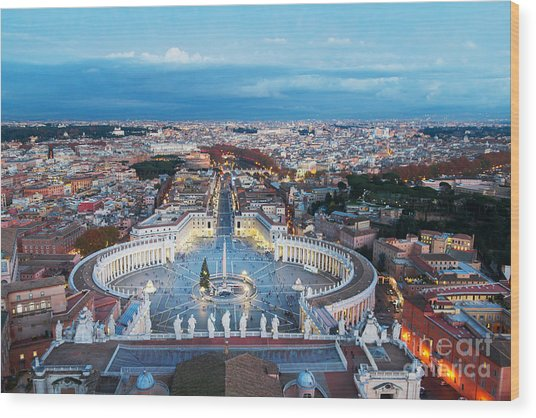 Aerial View On Rome, Italy. Evening Wood Print