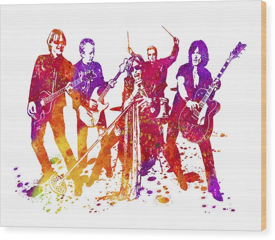 Aerosmith Band Watercolor Splatter 01 Wood Print