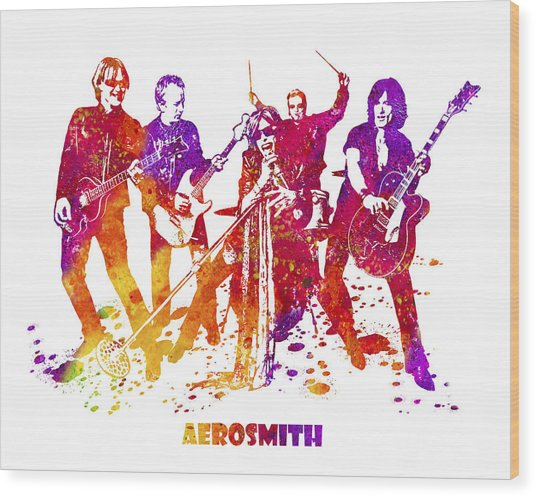 Aerosmith Band Watercolor Splatter 03 Wood Print