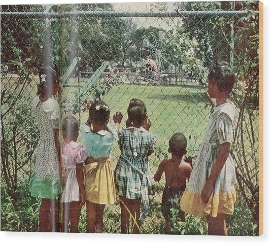 African American Children Peering Wood Print