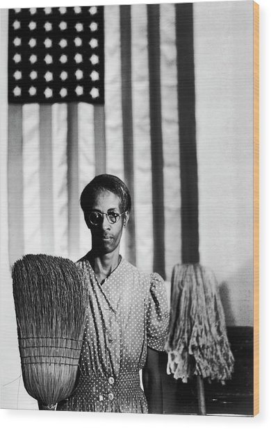 African American Cleaning Woman Ella Wood Print by Gordon Parks