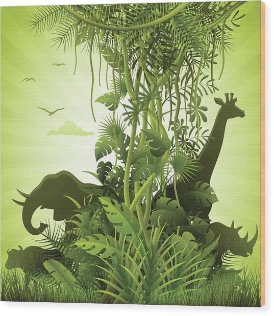 African Savannah Wood Print by Alonzodesign