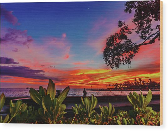 After Sunset Colors Wood Print