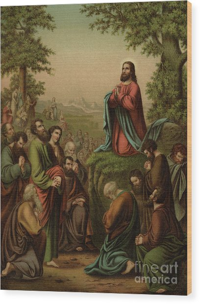 After This Manner Therefore Pray Ye  Our Father Which Art In Heaven Wood Print