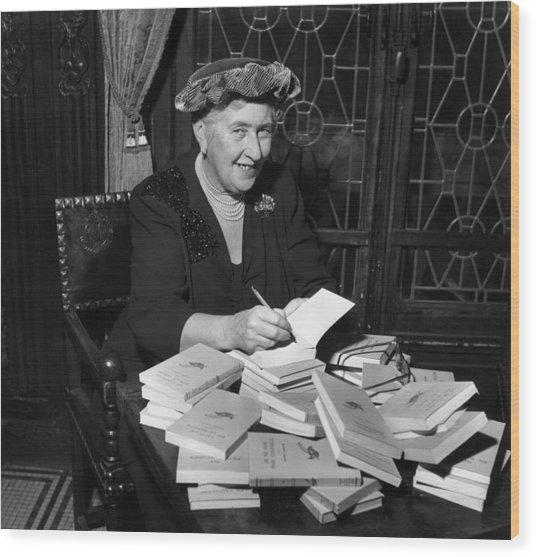 Agatha Christie Wood Print by Hulton Archive