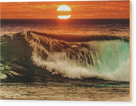 Ahh.. The Sunset Wave Wood Print