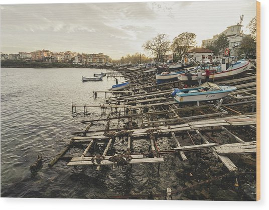 Ahtopol Fishing Town Wood Print