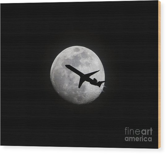 Airliner Passing In Front Of A Full Moon Wood Print