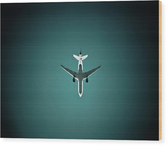 Airplane Silhouette Wood Print