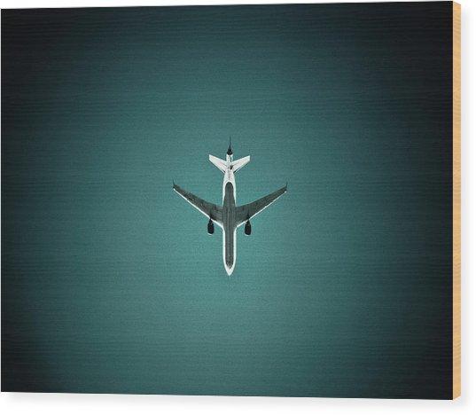 Airplane Silhouette Wood Print by Miikka S Luotio
