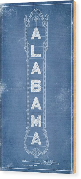 Wood Print featuring the digital art Alabama Theatre Marquee Blueprint by Mark E Tisdale