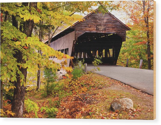 Albany Covered Bridge Near Conway, New Wood Print