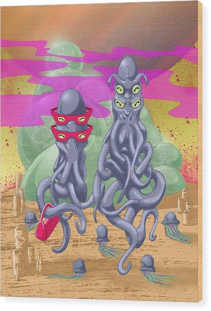 Alien Gothic Wood Print