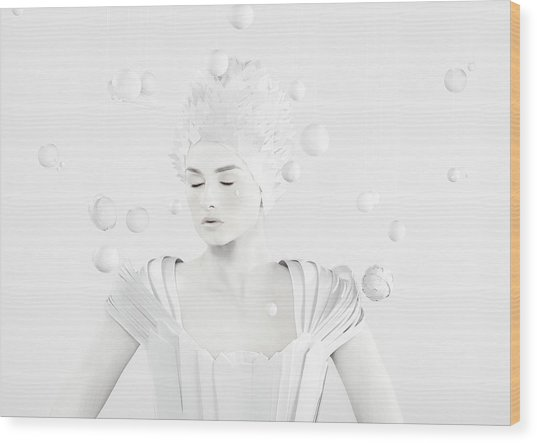 All White Woman In The Center Of Planets Wood Print by Paper Boat Creative