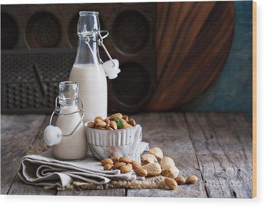 Almond Nut Vegan Milk Non Dairy In Wood Print
