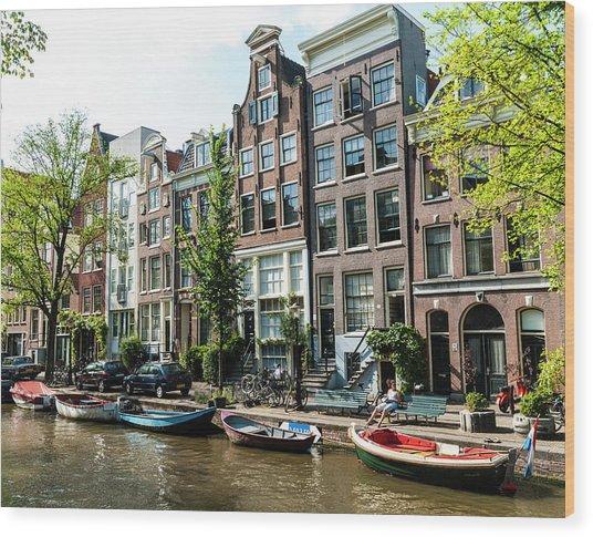 Along An Amsterdam Canal Wood Print