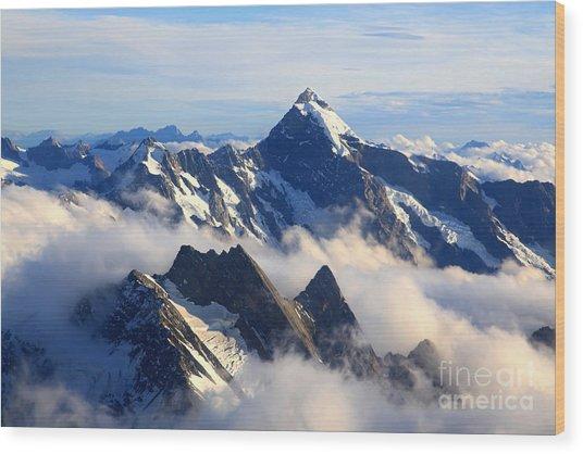 Alps Alpine Landscape Of Mountain Cook Wood Print