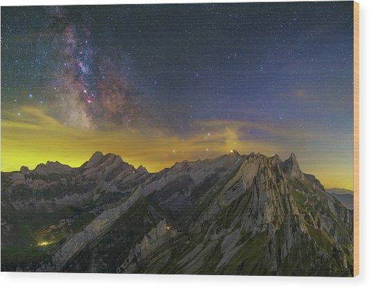 Alpstein Nights Wood Print