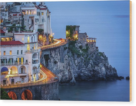 Amalfi Coast Italy Nightlife Wood Print