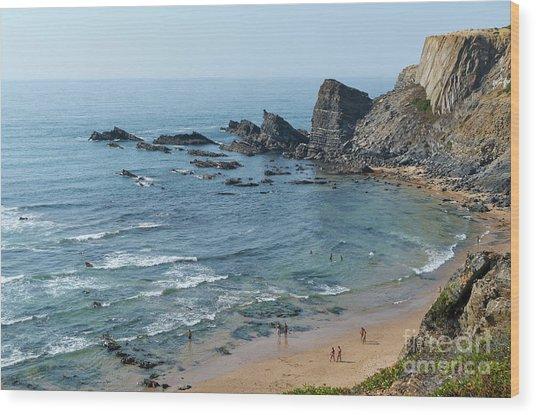 Amalia Beach From Cliffs Wood Print