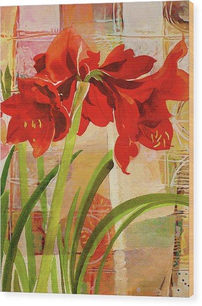 Amaryllis Flower Wood Print