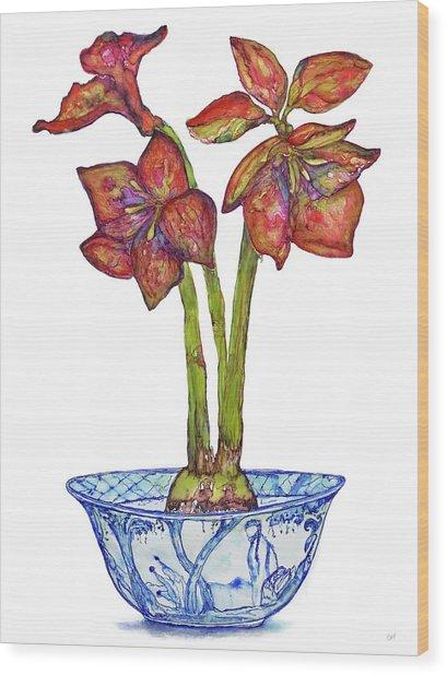 Amaryllis In Chinoiserie Wood Print