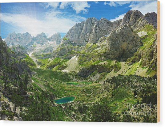 Amazing View Of Mountain Lakes In Wood Print