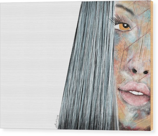 Amber Rose - Woman Abstract Art Wood Print