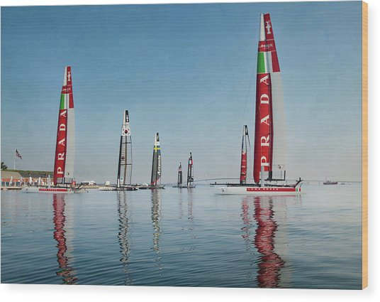 America Cup Boat Reflections Wood Print