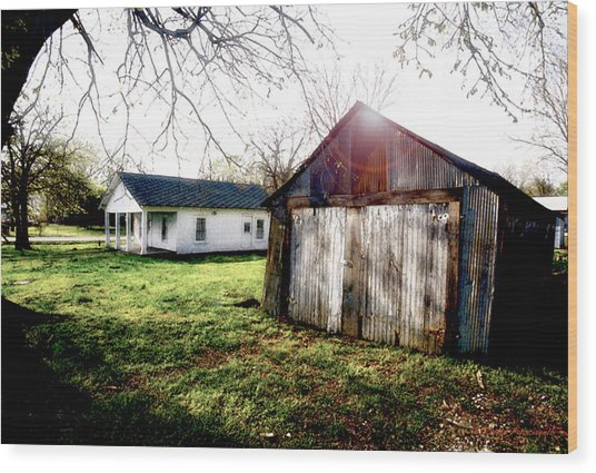 American Fabric   Mickey Mantle's Childhood Home Wood Print