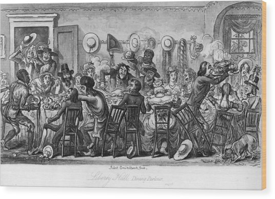American Table Manners Wood Print by Fotosearch