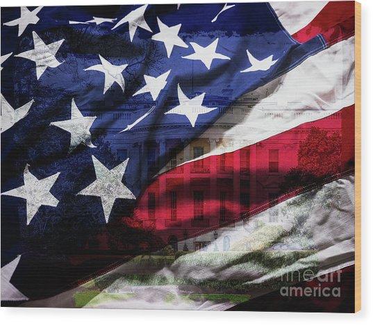 American White House Wood Print