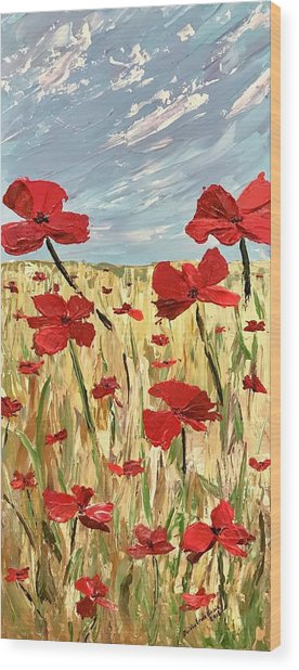Among The Poppies     1 Of 2 Wood Print