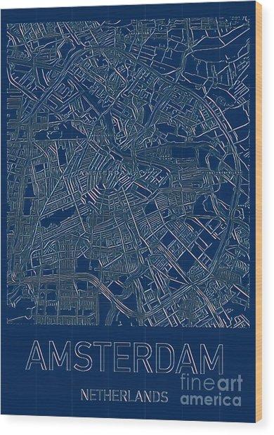 Amsterdam Blueprint City Map Wood Print