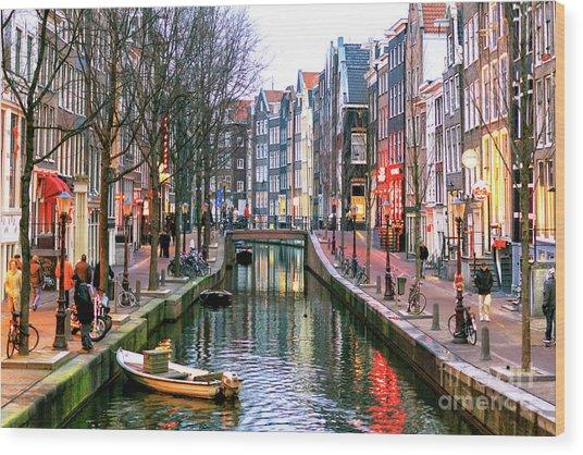 Amsterdam Red Light District Days Wood Print