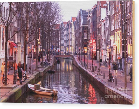 Amsterdam Red Light District Wood Print