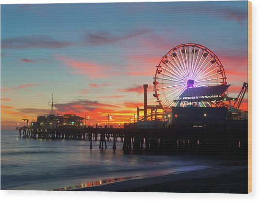 Amusement Park On Waterfront At Night Wood Print by Blend Images/pete Saloutos