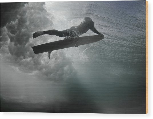 An Alaia Surfer Rises To The Surface Wood Print by Mark Tipple
