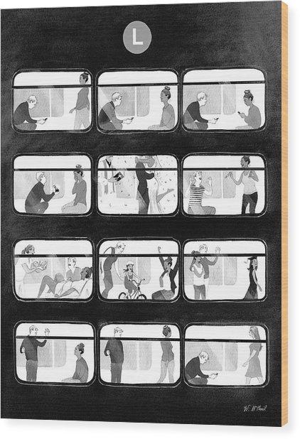 An L Train Love Story Wood Print