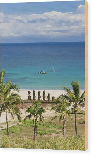 Anakena Beach, Yachts Moored In Front Wood Print by Gavin Hellier / Robertharding