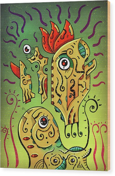 Wood Print featuring the digital art Ancient Spirit by Sotuland Art