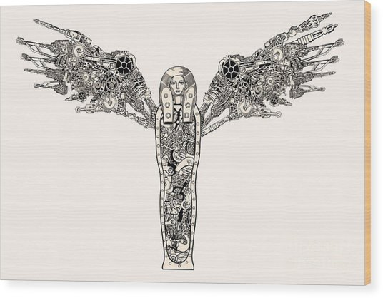Ancient Steampunk God With Wings Wood Print