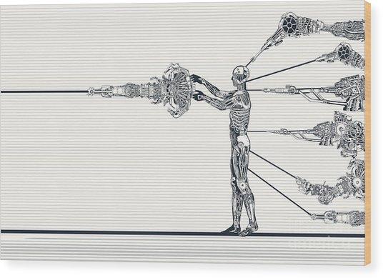Android Scientist Wood Print